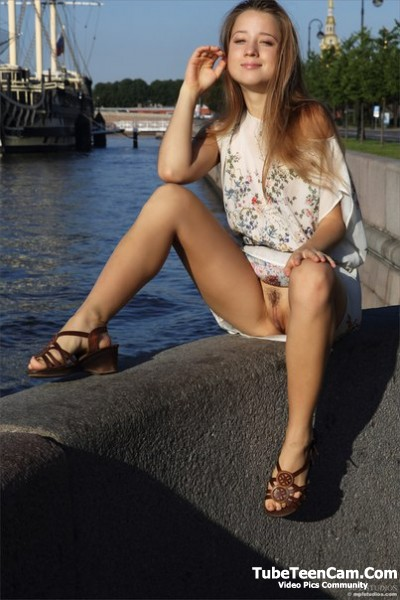 Pretty russian teen model nude on public