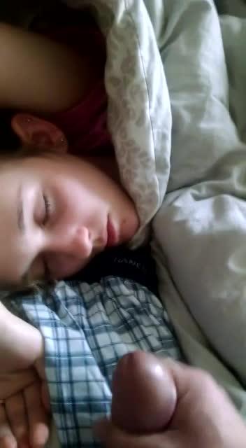 Sleeping sister cumshot)