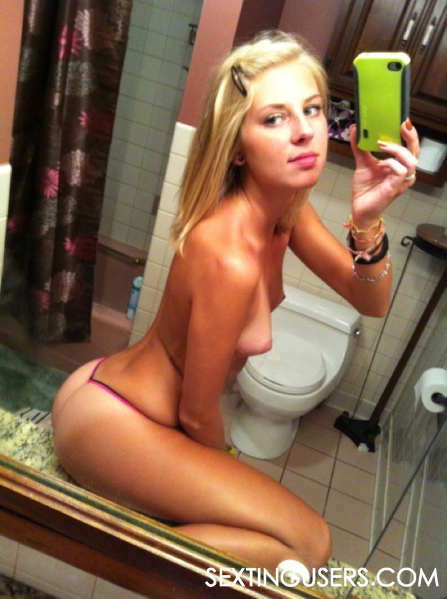 In bathroom skinny naked