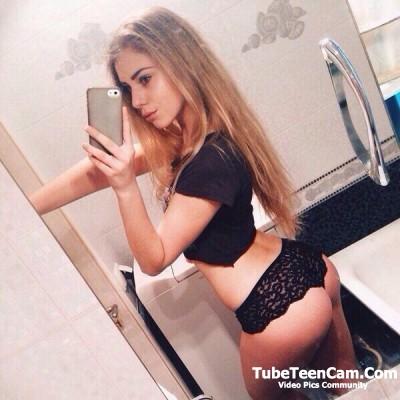Cute teen in black panty selfie