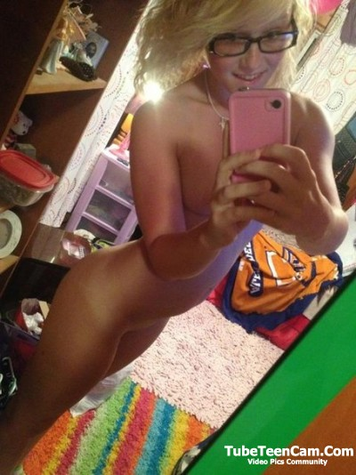 Young nude blondes with glasses pity