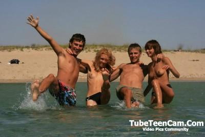 Happy teens on the beach