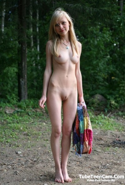 Shy nude blonde