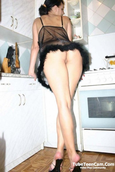 Hot wife photo on the kitchen