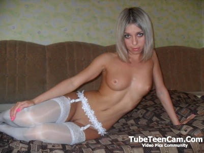 Cute nude teen blonde in white stockings