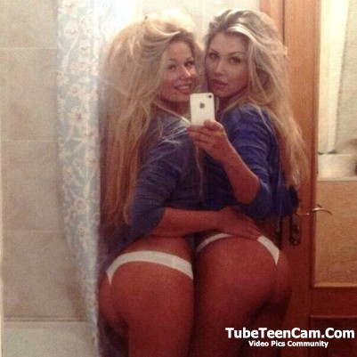 Two hot blondes selfie