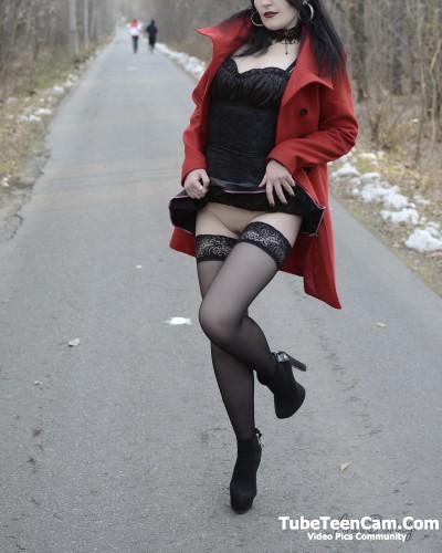 Goth slut upskirt no panties