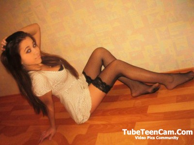 Petite teen in stockings